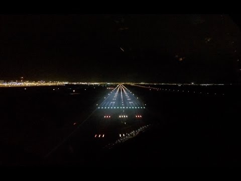 Night landing runway 21R Athens international airport (ATH LGAV)