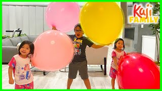 Ryan plays with Giant Balloons with his sisters in the house!!!