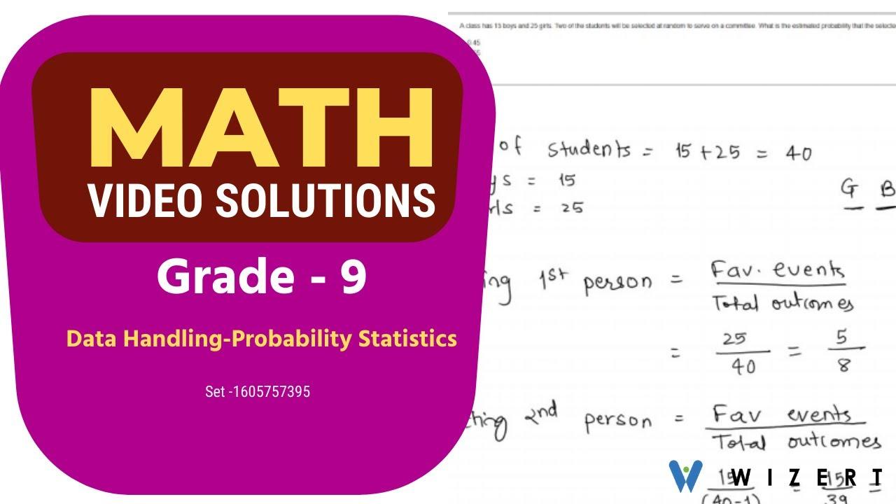 Maths Tests for Grade 9 - Grade 9 Data Handling–Probability And Statistics  worksheets-Set 160577395 - YouTube [ 720 x 1280 Pixel ]