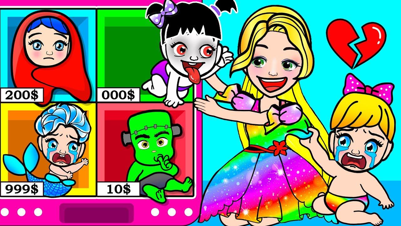 Paper Dolls Dress Up - Rapunzel Dream Vending Machine vs Mother Dress -   Barbie Story & Crafts