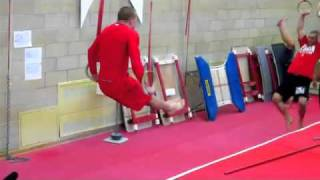 gsp training for jake shields fight at ufc 129 gymnastics