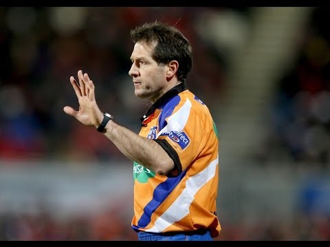 Referee Alain Rolland lays down the law - Glasgow Warriors v Scarlets 22nd March 2014