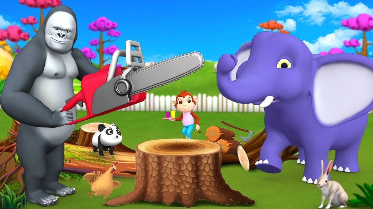 Gorilla Wood Cutting in Forest with Elephant and Barn Animals 3D Funny Animals Cartoons Videos