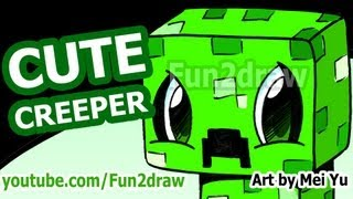 Cute CREEPER! How to Draw a Minecraft Creeper - Fun2draw style