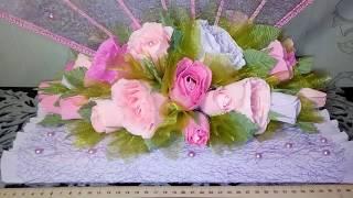 Обзор веера в стиле свит-дизайн. С розами из гофробумаги и конфет.