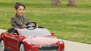 Тесла Модель S для дітей: на батарейках їздити на машині по радіо, Флаєр