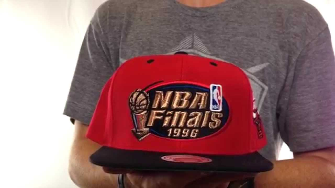 Bulls  1996 FINALS SNAPBACK  Red-Black Hat by Mitchell   Ness - YouTube 2b7d204106e2