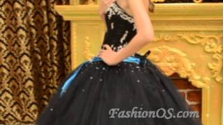 2014 Black Ball Gown Strapless Tulle Quinceanera Dress with Appliques-magicmiss.com