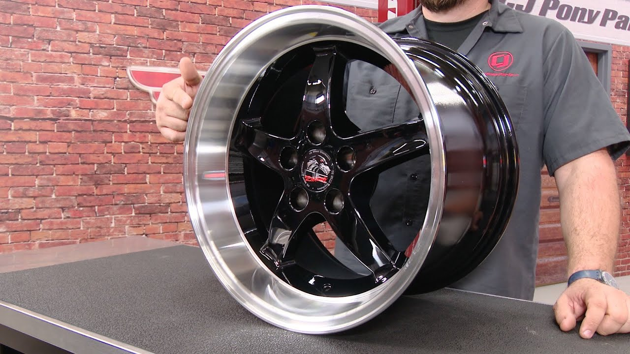 """Mustang Cobra R 1995 Dished Wheel 17""""X10 5"""" Black With Machined Lip"""