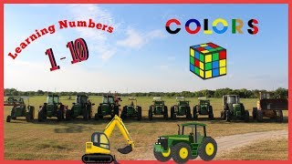 Learning videos for toddlers | Learning colors and numbers with tractors on the farm for kids
