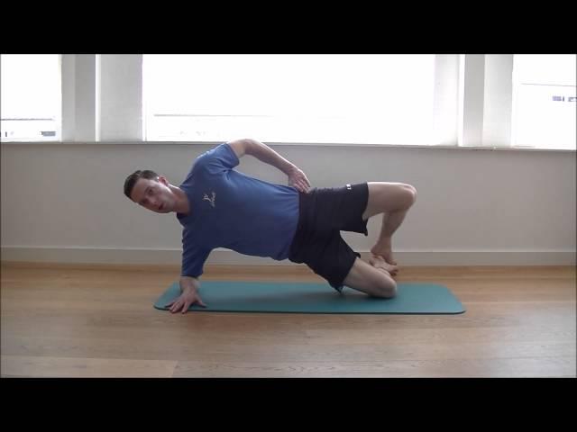 BilspierOefeningen; Zijwaartse Plank + Been Draai