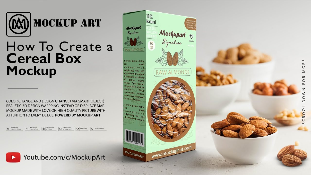 The best box mockup to display packaging design of cd or dvd or used to display food and gift box, cereals, packaging etc. How To Make A Cereal Box Mockup Mockup Photoshop Mockup Tutorial Youtube