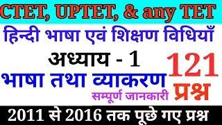 हिन्दी शिक्षण विधियाँ/भाषा तथा व्याकरण के विगत वर्षों में पूछे गए 121 प्रश्न