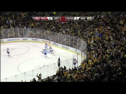 Tim Thomas AMAZING diving save against Montreal! (HD)
