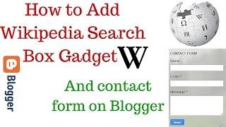 How to Add Wikipedia Search Box Gadget and contact form on blogger - Hindi
