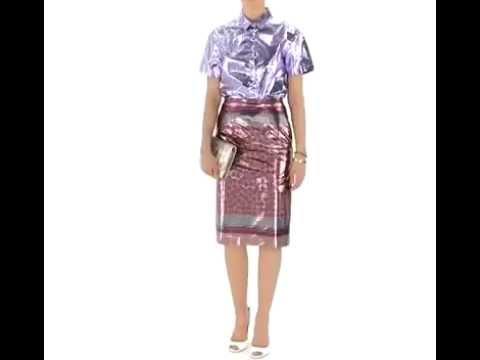 Vivid PVC Vinyl Pencil Skirt and PVC Blouse