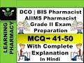 MCQ 41-50 | DCO | AIIMS Pharmacist Grade II | BIS Pharmacist Exam Preperation | In Hindi