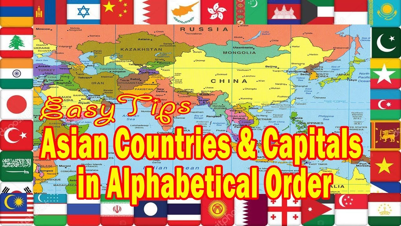 Map Of Asia With Capitals And Countries.Asian Countries And Capitals In Alphabetical Order