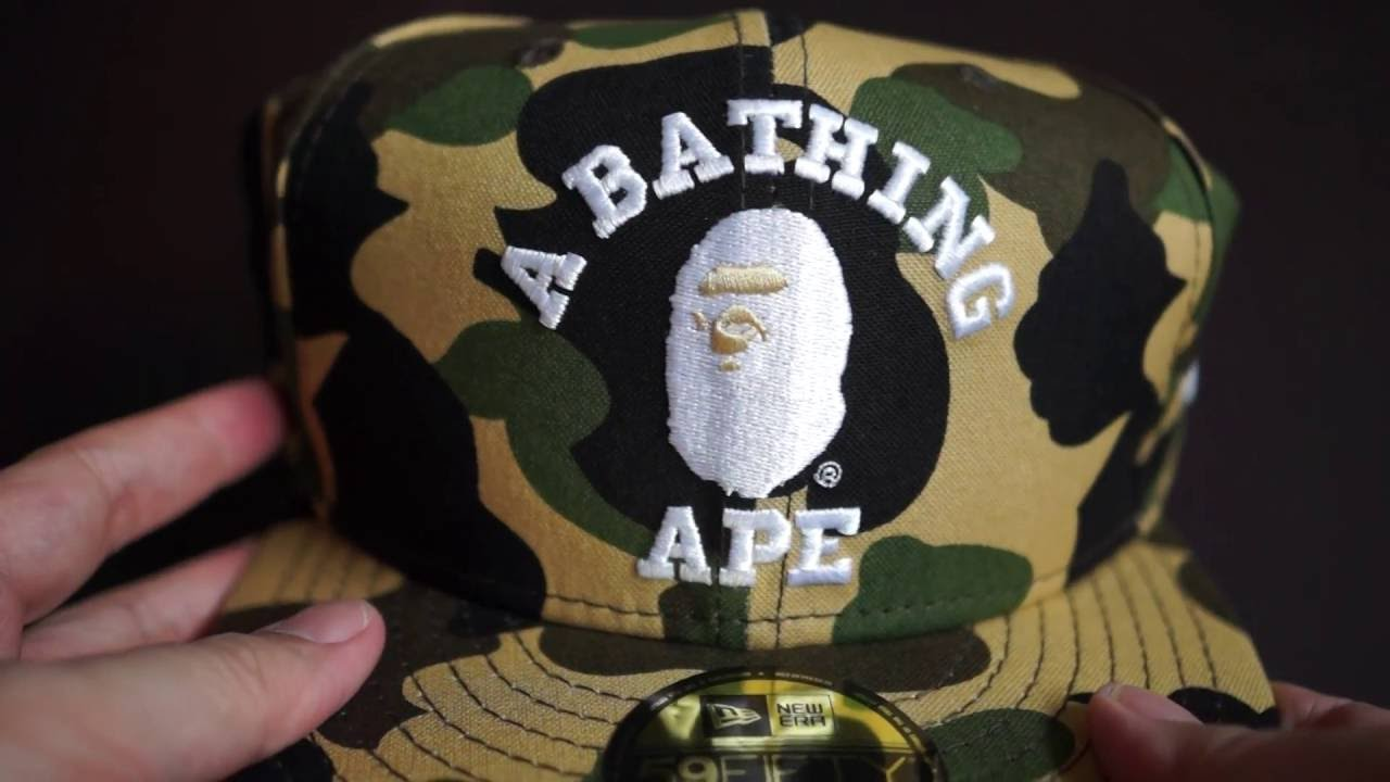 b29450fd771 Bathing Ape (BAPE) 1st Camo Yellow Fitted Cap Unboxing from New Era ...
