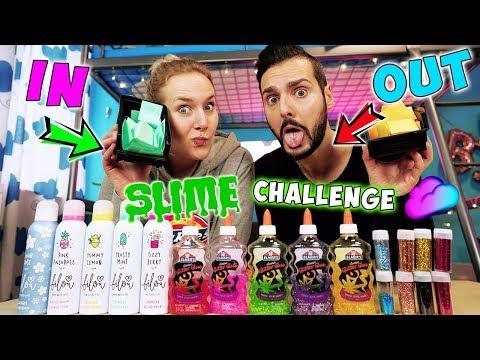 IN or OUT SLIME POINT SPIEL CHALLENGE! Private Fragen an Kaan & Nina! Käse Slime VS. Erdbeer Schleim