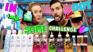 IN or OUT SLIME POINT SPIEL CHALLENGE! Private Fragen an Kaan & Nina! Käse Slime VS. Erdbeer Schleim