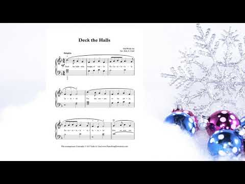 Deck the Halls: easy Christmas carol for piano with free sheet music