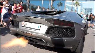 The crashed Lamborghini shooting flames | Modball Rally 2016