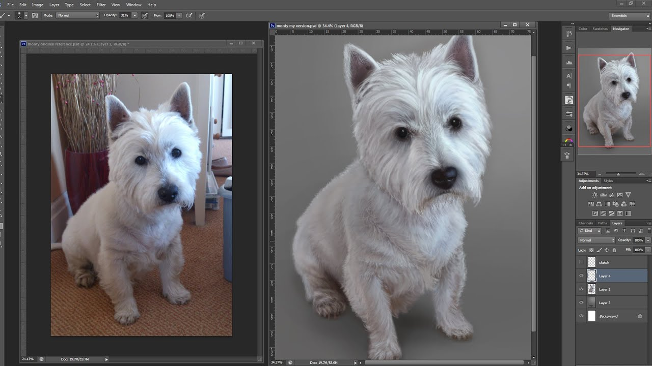Painting Fur Digitally Using Dog For Reference How To Draw Tutorial   Youtube