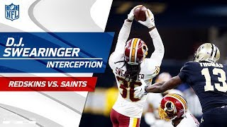 D.J. Swearinger's Leaping INT Leads to FG! | Redskins vs. Saints | NFL Wk 11 Highlights