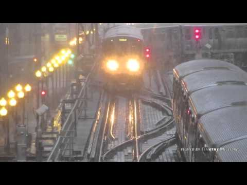 The Chicago El Train During a Snowstorm
