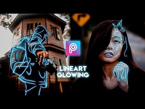 Cara Edit Foto Dengan Efek LineArt Bercahaya di Android - PicsArt Tutorial