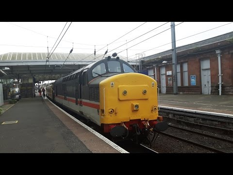 37175 Colas Rail Freight & 37254 Intercity Swallow Depart Ayr With Toot 06/07/16