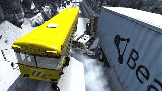 Realistic high speed crashes in snow and ice - beamng drive crash compilation gameplay highlights