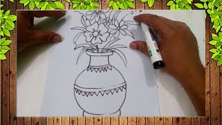 How to draw easy flower vase for kids-Easy Kids Drawing Tutorial