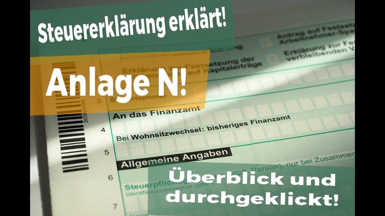 steuererklrung 2017 anlage n damit du an alles denkst - Steuererklarung Rentner Muster