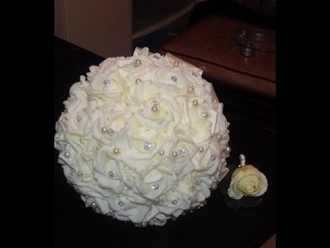 1 Diy How To Make Your Bridal Bouquet Wedding Brooch Real Touch Foam Roses Part 2