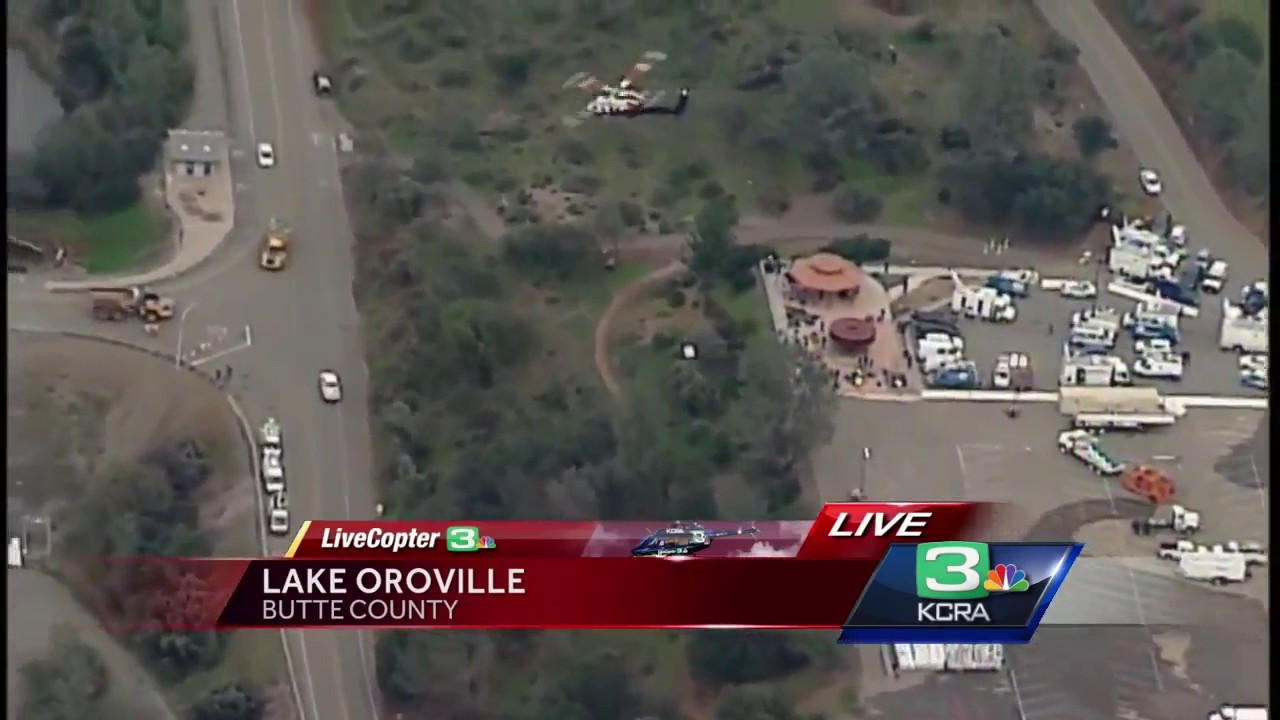 Aerial view shows repairs on Lake Oroville spillways