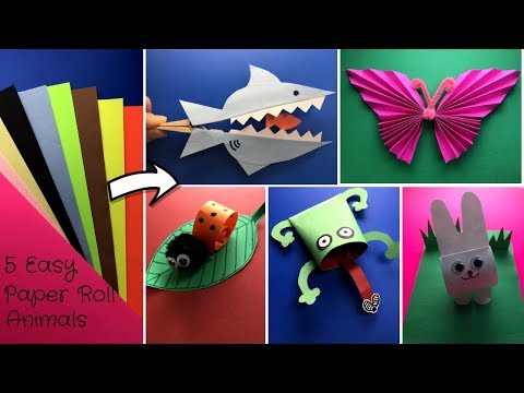 DIY - 5 Easy Paper Craft Animals:  Shark, Lion, Butterfly, Frog and Rabbit