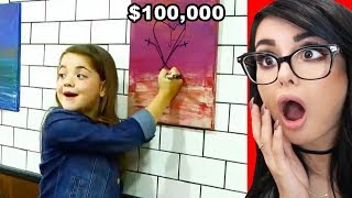 Girl DESTROYS Expensive Painting By Drawing on it