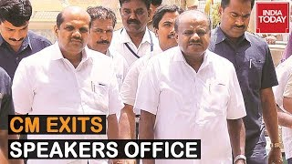 CM Kumaraswamy Exits Speakers Chamber, Speaker To Decide Next Course Of Action