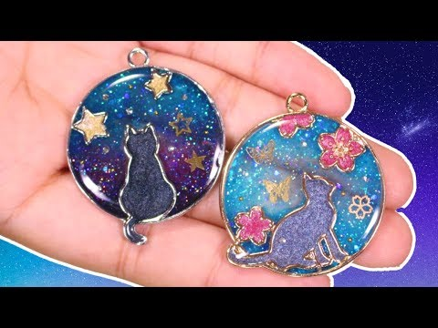 Starry Night & Cherry Blossom Kitty Cat Charms | Watch Me UV Resin