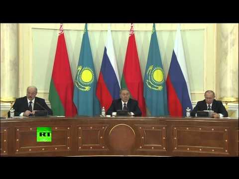 Point de presse de Poutine, Nazarbayev et Loukachenko à Astana