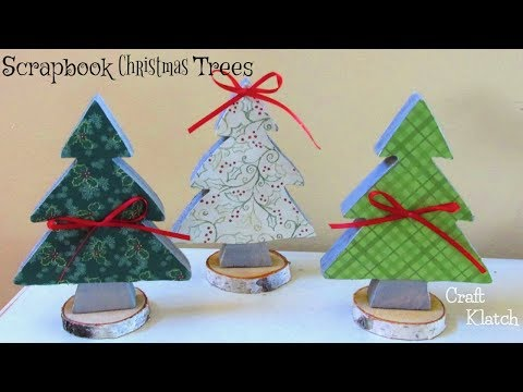 DIY Scrapbook Paper Christmas Trees ~ Christmas Crafts ~ Craft Klatch
