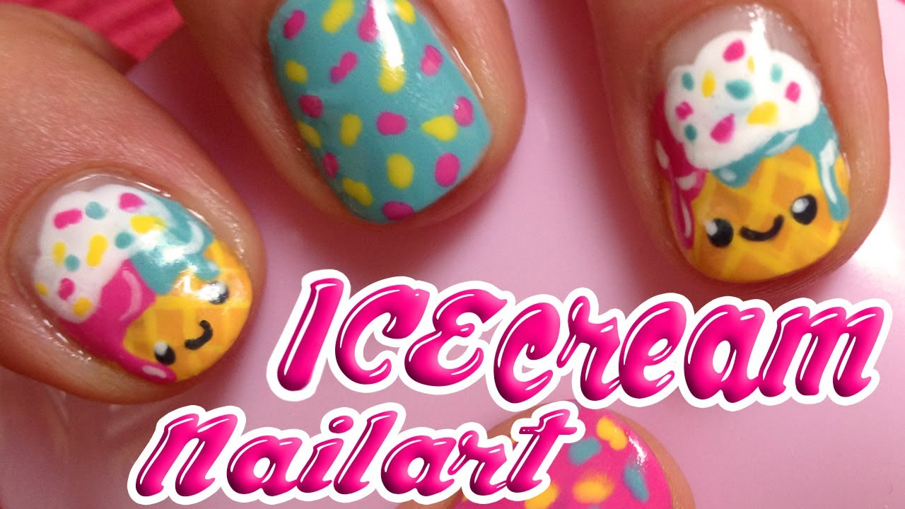 tutorial: how to do cute icecream summer nailart ♥ kawaii! - YouTube