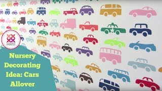 Nursery Decorating Ideas with Cars Allover Wall Stencil