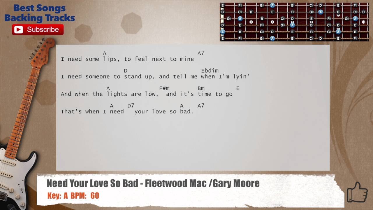 Need Your Love So Bad Fleetwood Mac Gary Moore Guitar Backing