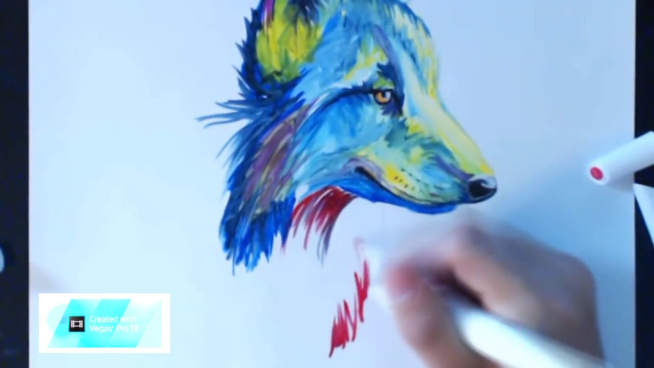 Como Dibujar Un Lobo Multi Colores Youtube