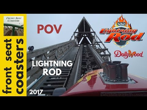 Lightning Rod POV Full HD Dollywood 2017 RMC Roller Coaster Front Seat On Ride