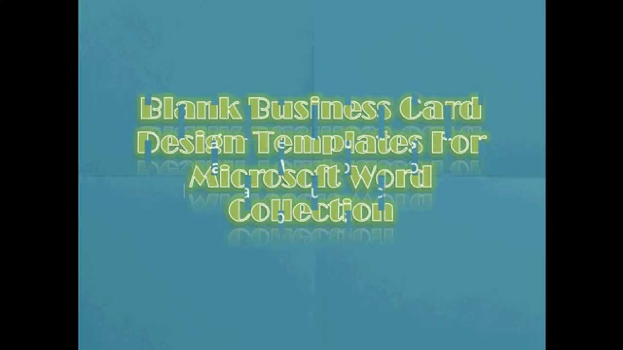 Free Blank Business Card Design Templates For Microsoft Word Collection