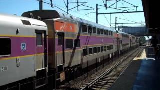Acela And MBTA Commuter Rail Trains At South Attleboro